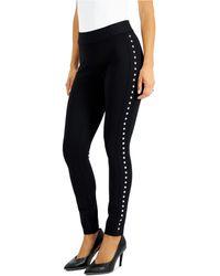 Bar Iii Side-studded Leggings, Created For Macy's - Black