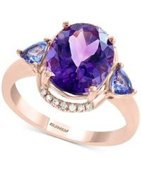 Effy Collection Effy® Multi-gemstone (3-7/8 Ct. T.w.): Amethyst, Tanzanite & Diamond Accent Ring In 14k Rose Gold - Metallic