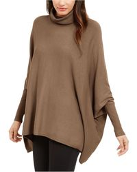 Alfani Petite Turtleneck Poncho Sweater, Created For Macy's - Brown