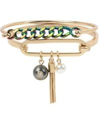BCBGeneration - Goldtone And Faux Pearl Cluster Charm Bangle Bracelet Set - Lyst