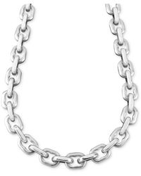 """Macy's Stainless Steel Necklace, 24"""" Anchor Link - Metallic"""