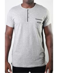 Members Only Basic Henley 3 Button Pocket Tee - Gray