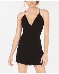 Emerald Sundae Juniors' Lace-back Romper - Black