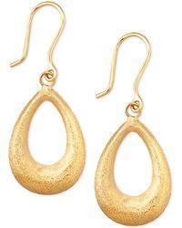 Macy's - Matte Finish Teardrop Drop Earrings In 10k Gold - Lyst