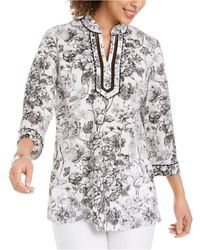 Charter Club Split-neck Tunic, Created For Macy's - White