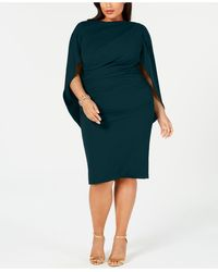 Betsy & Adam Plus Size Ruched Cape Dress - Green