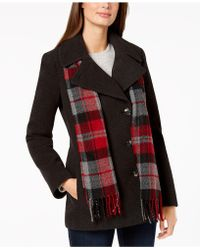 London Fog - Double-breasted Plaid-scarf Peacoat - Lyst