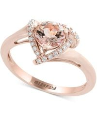 Effy Collection - Effy® Morganite (3/4 Ct. T.w.) & Diamond (1/10 Ct. T.w.) Ring In 14k Rose Gold - Lyst