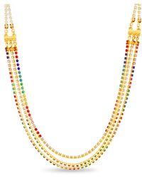 Steve Madden Rainbow Layered Chain Necklace - Metallic