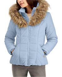 Maralyn /& Me Womens Faux-Fur-Collar Jacket Black Medium