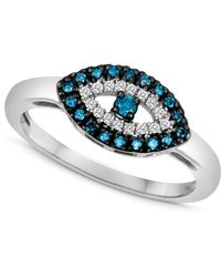 Macy's - Sterling Silver Ring, Blue Diamond (1/10 Ct. T.w.) And White Diamond Accent Evil Eye Ring - Lyst