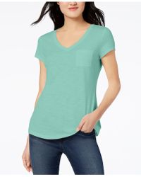 Maison Jules - V-neck Patch-pocket T-shirt, Created For Macy's - Lyst