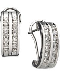Macy's - Two-row Diamond Channel-set Hoop Earrings In 14k White Gold (3/8 Ct. T.w.) - Lyst