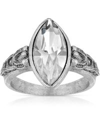 2028 Pewter Diamond Shaped Crystal Ring - Metallic