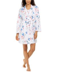 Charter Club Cotton Floral-print Wrap Robe, Created For Macy's - Blue