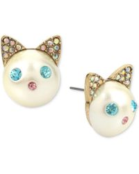 Betsey Johnson - Gold-tone Colored Pavé & Imitation Pearl Cat Stud Earrings - Lyst