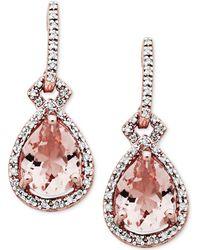 Macy's - Morganite (3 Ct. T.w.) & Diamond (1/5 Ct. T.w.) Drop Earrings In 10k Rose Gold - Lyst