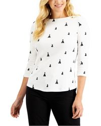 Charter Club Supima Cotton Yorkie-print Top, Created For Macy's - Multicolour