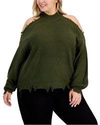 Derek Heart Trendy Plus Size Destructed Cold-shoulder Sweater - Green