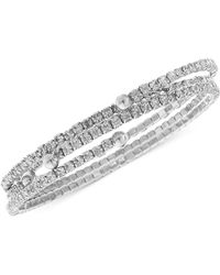Nine West - Bracelet Set, Silver-tone Crystal Coil Bracelets - Lyst