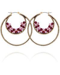 Nanette Lepore Beautifully Berry Hoop Earring - Metallic