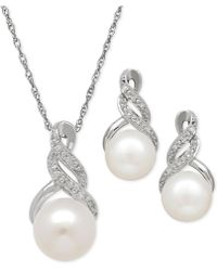 Macy's - Cultured Freshwater Pearl (8 & 9mm) And Diamond Accent Pendant Necklace And Matching Stud Earrings Set In Sterling Silver - Lyst