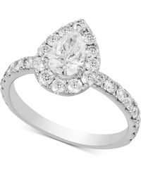 Macy's - Diamond Pear Halo Engagement Ring (1-3/4 Ct. T.w.) In 14k White Gold - Lyst