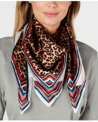 Vince Camuto Prairie Leopard Silk Square Scarf - Red