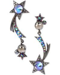 Betsey Johnson Hematite-tone Crystal & Bead Shooting Star Mismatch Drop Earrings - Black