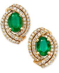 Macy's - Emerald (2 Ct. T.w.) And Diamond (5/8 Ct. T.w.) Stud Earrings In 14k Gold - Lyst