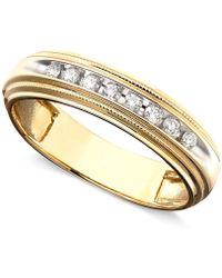 Macy's - Men's Diamond Ring In Two-tone 14k Gold ( 1/5 Ct. T.w.) - Lyst