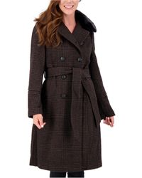 Vince Camuto Plaid Faux-fur-collar Double-breasted Belted Coat - Black