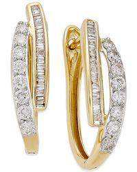 Macy's - Diamond Hoop Earrings (1 Ct. T.w.) In 10k Yellow Gold Or White Gold - Lyst