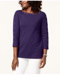 Karen Scott Cotton Boat-neck Studded Top, Created For Macy's - Purple