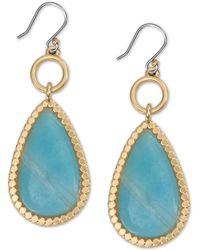 Lucky Brand Gold-tone Stone Drop Earrings - Metallic