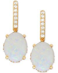 Macy's - Opal (2 Ct. T.w.) & Diamond (1/5 Ct. T.w.) Drop Earrings In 14k Gold - Lyst