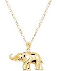 Macy's | Elephant Pendant Necklace In 10k Gold | Lyst