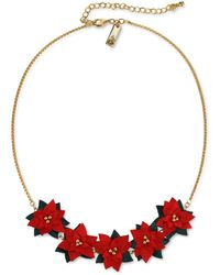 """INC International Concepts Inc Gold-tone Fabric Poinsettia Statement Necklace, 18"""" + 3"""" Extender, Created For Macy's - Red"""