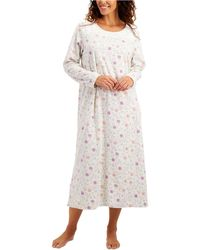 Charter Club Printed Fleece Long Nightgown, Created For Macy's - Multicolor