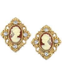 2028 14k Gold-dipped Cameo And Crystal Accent Clip Earrings - Metallic