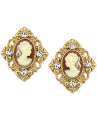 2028 - 14k Gold-dipped Cameo And Crystal Accent Clip Earrings - Lyst