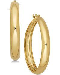 Macy's Polished Flex Hoop Earrings In 10k Gold, 1 Inch - Metallic