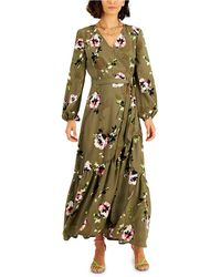 Bar Iii Floral-print Belted Wrap Maxi Dress, Created For Macy's - Green