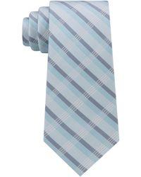 Calvin Klein Men's Crème Plaid Tie - Blue
