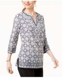 Charter Club Petite Cotton Split-neck Tunic, Created For Macy's - Black