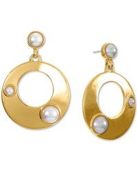 Alfani Gold-tone Imitation Pearl Circle Drop Earrings, Created For Macy's - Metallic