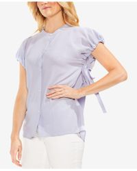 Vince Camuto - High-neck Drawstring-arm Blouse - Lyst