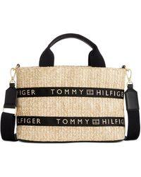 Tommy Hilfiger Caroline Paper Straw Shopper, Created For Macy's - Black