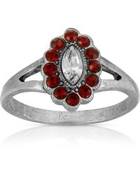 2028 Pewter Diamond Shaped Crystal Ring - Red