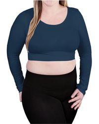 Skinnytees Plus Long Sleeve Crop Top - Blue